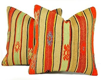 Set of 2 Kilim pillow covers, skp9-04, Kilim Pillow, Turkish Pillow, Kilim Cushions, Kilim, Moroccan Pillow, Bohemian Pillow, Turkish Kilim