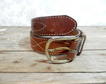Vintage Leather Belt, Tony Lama aged vintage Thick brown boho 30 inch long belt, fswp