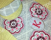 Quilted Monogrammed Embroidered Appliqued Baby Bib With Snap, Personalized - FREE MONOGRAMMING