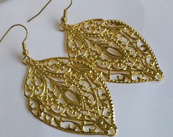 SALE - Bright Gold - Faux patina, leaf  filigree earrings