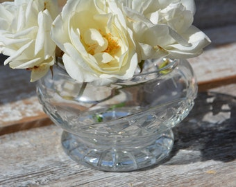 Vintage Cut Glass Vase, Vintage French Cache Pot, Vintage Vases, Cut Glass Catch All, Vintage Home Decor