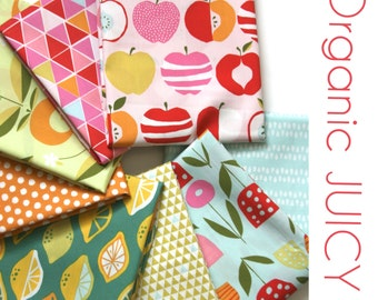 Organic Juicy ONE FAT QUARTER   Bundle -  Fabric by Monaluna from the Juicy Collection- Two Yards Total