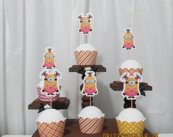 Girl Minion Cupcake Wrapper & Toppers
