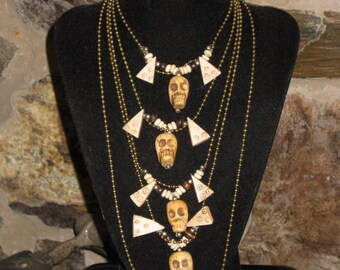 Skull Necklace Halloween Day of the Dead Jewelry Carved Bone Beads Tribal Goth Necklace For Man or Woman