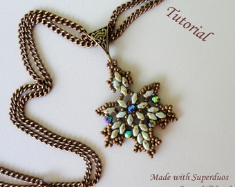 MAPLE LEAVES superduo beaded pendant beading tutorial beadweaving pattern beadwork jewelry beadweaving tutorial beading pattern instructions