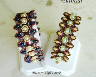 REVELATION beaded bracelet beading tutorial and pattern superduo tila beadwork jewelry beadweaving tutorials beading pattern instructions