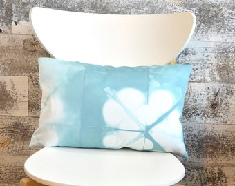 Pale Blue Shibori Pillow Cover 12x18 inches - Sea Glass