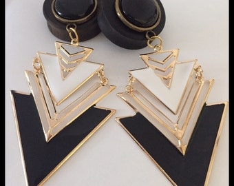 Pick Size Black Gold Egyptian Lover Triangle Dangle Ebony Organic ear plugs gauges