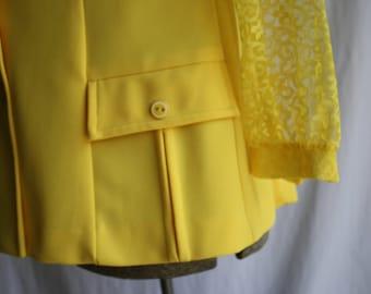 1960's Yellow Mrs. Brady Vest by Alex Coleman Size Large