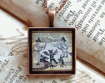 Halloween Jewelry - Folk Witches - Witch Necklace in Silver or Copper - Wicca - Halloween - Autumn - Fall