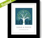 Love Wedding Tree White Doves Personalized Wedding Gift Engagement Framed Art Wedding Date Wedding Gift for Couple
