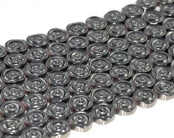 12mm Grey Hematite Gemstone Rose Flower Carved Loose Beads 16 inch Full Strand (90185611-842)