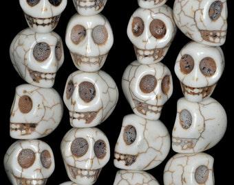 18x15mm White Turquoise Howlite Gemstone Carved Skull Head Loose Beads 15.5 inch Full Strand (90186240-730)