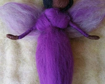 1 African American Fairy, Ethnic Needle Felted Fairiy, Purple Dress,  Rainbow of Colors, Walforf Inspired
