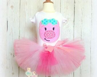 Little Piggy Tutu Outfit- Pink Tutu- Custom Embroidery- Birthday- Costume- Pink Pig Tutu Set