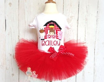Farm themed birthday outfit for girls - farm tutu outfit - pig, cow, horse - red tutu - barn themed birthday outfit - 1st birthday outfit