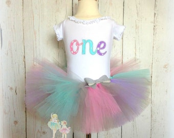 First Birthday Tutu Outfit- ONE- Pastel Pink, Lavender, and Aqua- Custom embroidery- Two, Three, Four, Five