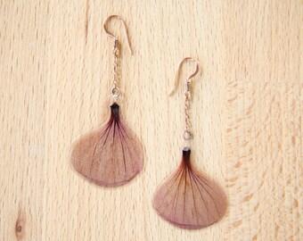 Pressed Flower Jewelry - Red Flowering Maple Pressed Flower Petal Earrings