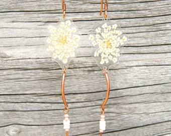 Pressed Flower Jewelry - White Queen Anne's Lace Pressed Flower Petal Earrings with Czech Glass Beads
