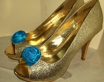 Wedding Shoe Clips, Rose Shoe Clips, Turquoise Roses, Bridal Wedding, Bridal Shoe Clips for Wedding Shoes, Bridal Shoes, Special Occassion