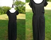 1940s Patullo-Jo Copeland Bonwit Teller Rayon and Velvet Bow Drape Black Dress