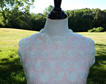 Vintage White and Pink Mohair Sleeveless Fully Lined Kitten Pinup Bombshell Mod Go Go Girl Sweater