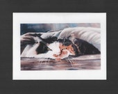 "Artistic Greeting Card Reproduction Print of an Original Watercolor Painting, Commissioned Cat, 5"" high x 7"" wide with envelope"