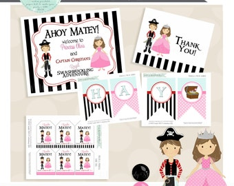 Pirates & Princess Birthday Party Package- Printable PDF files. Red and Pink Colors. Includes cupcake topper invite banner signs favor tag