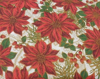 CLEARANCE Cotton Fabric, Christmas Poinsettia and Holly Berries, Poinsettia Glamour by AE Nathan Co, Sold by the Yard