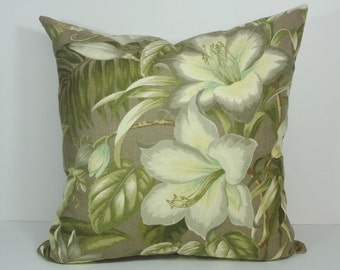 Tommy Bahama Decorative Pillow Cover, Botanical Glow Pillow Cushion Cover, Yellow, Olive Green, 18 x 18, 20 x 20