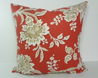 Coral Decorative Pillow Cover, Cushion Cover, Indian Red Pillow, 16 x 16, 18 x 18