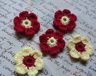 Set of 20 Red and Yellow 6-Petal Crochet Flowers