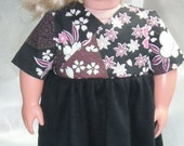"18"" Doll Clothes Asian inspired dress with short sleeves & knit skirt"