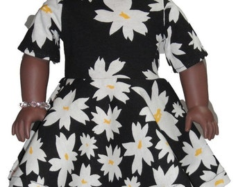 "Short Sleeve Knee Length 18"" Doll Clothes White Daisy flowers on  Black Dress w/ Invisible Back Zipper"