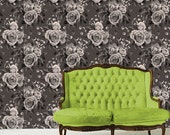 Floral Removable Wallpaper Haute Couture-Smokey Corsage- Peel & Stick Self Adhesive Fabric Temporary Wallpaper- Never Vinyl, Always Fabulous