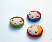 Fridge Magnets - Set of 3, Matryoshka Fabric Fridge Magents, Russian Doll Faces - Fabric Button Magnet