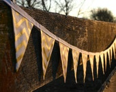 Mini Fabric Bunting - Pink, Gold, White Glitz Chevron, Photo Prop, Party Decor, Wedding Garland, Nursery Decor, First Birthday