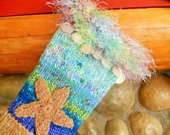 Hand Knit Starfish and Shells Beach Christmas Stocking