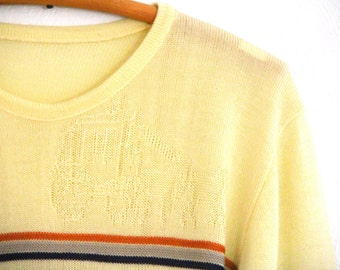 Vintage Unisex Sweater Yellow Horse and Carriage Print 1970s Medium Small