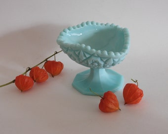Vintage Turquoise Milk Glass Compote Dish