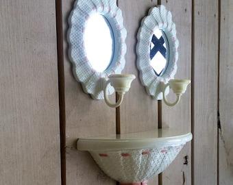 Burwood White Shelf and Mirror Sconce Set
