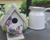 Small Cottage/Shabby Chic Miniature Birdhouse with Embellishments