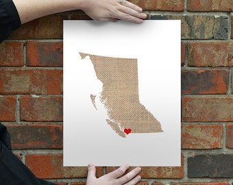 British Columbia Canada State Map - Custom Personalized Heart Print - I Love Vancouver - Hometown Wall Art Gift Souvenir