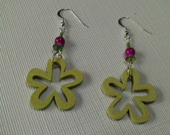 Large Wooden Lime Green, Fuschia, Flower Shape Earrings, Bold , Large, One of a Kind Earrings, Summer Earrings, Fall Earrings Sale