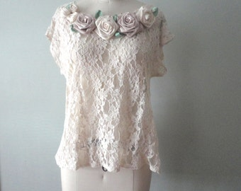 Feminine Lace Top, Eco Friendly Flower Decorated Wedding Blouse, Boho White Lace Blouse, Altered Couture Top, Lacy Top, Bohemian Romantic