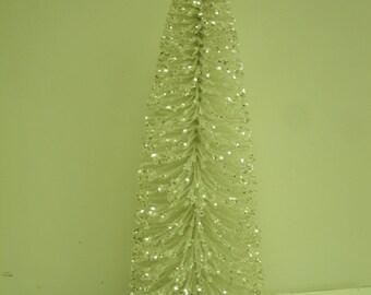 """10"""" Sisal / Bottle brush Trees WHITE GLITTER silver accents"""