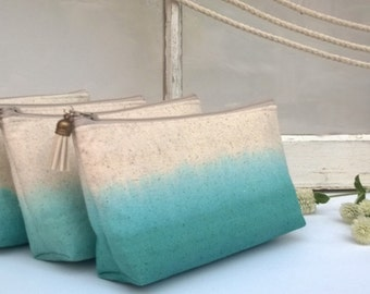 Teal Ombre Clutch Purses, Bridesmaid Gifts, Wedding Clutches, Bohemian - Set of 3