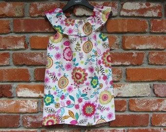 Handmade Boutique Ruffle Neck Floral Jumper Dress size  3