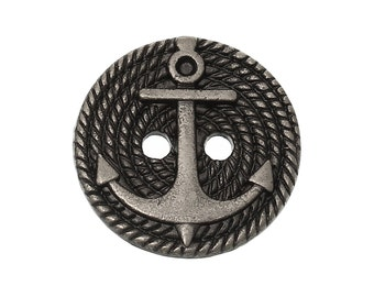 Gunmetal Anchor Buttons - Two Holes - 18mm  - 3pcs - Ships IMMEDIATELY from California - A438