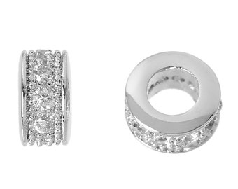 SALE Platinum Pave Zircon Spacer Bead - 6x4mm - Ships IMMEDIATELY from California - B1217